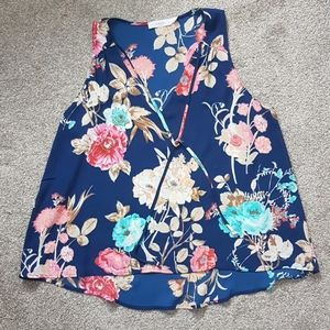 NEW Nordstrom Lush Navy Pink Floral Tank Top M